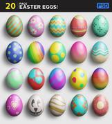 20 Easter Egg Pack And Easy Custom Mockup PSD Template