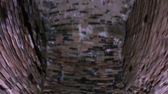 Corridor in the fort, brick walls and arches. Stock Footage