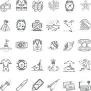 Sea leisure black line icons vector collection Stock Illustration