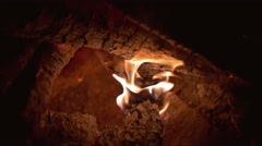 The outdoors fire. Heat and powerful flame. Slow motion capture Stock Footage