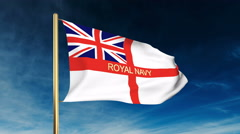 Royal Navy flag slider style with title. Waving in the wind with cloud Stock Footage