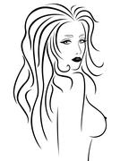 Abstract beautiful woman with a naked breast - stock illustration