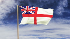 Royal Navy flag waving in the wind. Green screen, alpha matte. Loopable Stock Footage