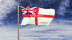 Royal Navy flag with title waving in the wind. Looping sun rises style Stock Footage