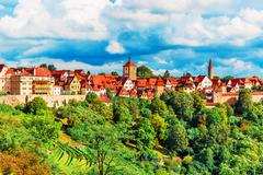 Panorama of Rothenburg ob der Tauber, Germany - stock photo