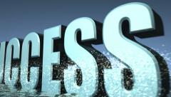 The word success emerges from the ocean surface Stock Footage