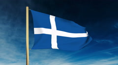 Shetland flag slider style. Waving in the win with cloud background animation Stock Footage