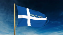 Shetland flag slider style with title. Waving in the wind with cloud background Stock Footage