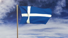 Shetland flag waving in the wind. Green screen, alpha matte. Loopable animation Stock Footage