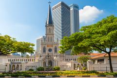 Entrance and old Chijmes church turret in neoclassical style Stock Photos