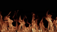 High resolution blazing flames on a black background - stock footage