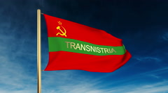 Transnistria flag slider style with title. Waving in the wind with cloud Stock Footage
