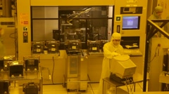 Manufacturing plant assemble line in clean rooms - stock footage