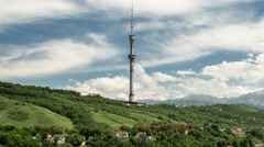 Timelapse of TV Tower in Mountains of Almaty Stock Footage