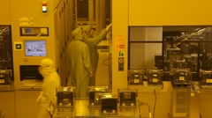 Manufacturing plant assemble line in clean rooms Stock Footage