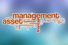 Asset management word cloud with abstract background - stock illustration