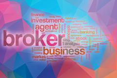 Broker word cloud with abstract background Stock Illustration