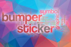 Bumper sticker word cloud with abstract background Stock Illustration