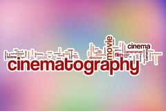 Cinematography word cloud with abstract background - stock illustration