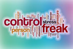 Control freak word cloud with abstract background Stock Illustration