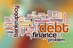 Debt word cloud with abstract background Piirros