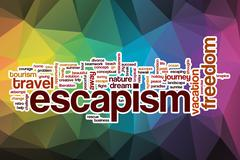 Escapism word cloud with abstract background - stock illustration