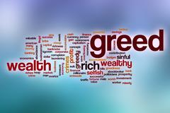 Greed word cloud with abstract background Stock Illustration