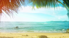 Thailand, Phuket Island. Sunny beach with palm trees without people Stock Footage