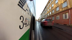 Gopro attached to the bus, moving through streets 5 Stock Footage