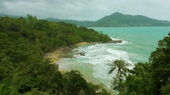 Tropical beach without people. Off-season, Thailand, Phuket Stock Footage