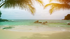 A sunny tropical beach with palm leaves on the sky background Stock Footage