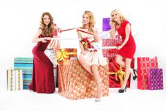 Beautiful women tucked in a ribbon - stock photo