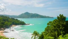Forested Beachline in Thailand, a Panoramic View Stock Footage