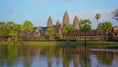 Clear Blue Skies over Angkor Wat in Time-Lapse Stock Footage