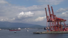Busy commercial wharf Stock Footage