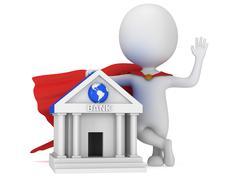 Brave superhero and world bank Stock Illustration