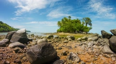 Distant Tropical Island in Thailand from Low Angle Perspective Stock Footage