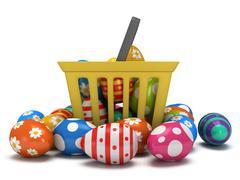 Easter Eggs in shopping basket - stock illustration