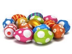 Unique golden egg among Easter Eggs - stock illustration