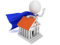 Brave super banker and global bank Stock Illustration