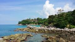 Beautiful, Rocky, Treelined Beach in Phuket, Thailand - stock footage