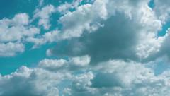 Fluffy Clouds Building and Drifting in Timelapse Stock Footage