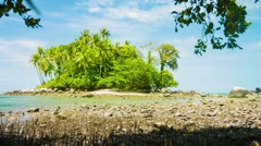 Small Tropical Island at Low Tide in Thailand, Asia Stock Footage