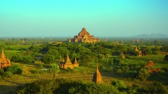 Panoramic Landscape of Ancient Stone Temples in Bagan, Myanmar, Southeast Asi Stock Footage