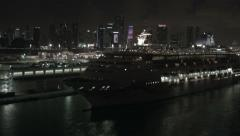 Cruise ship early sail-away from Port of Miami Stock Footage