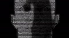 Animation of a human face made with numbers running on screen Stock Footage