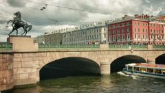 ST. PETERSBURG, RUSSIA - CIRCA JUN 2014: The Anichkov Bridge most famous brid Stock Footage