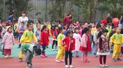 Shenzhen, China: kindergarten children in exercise Stock Footage