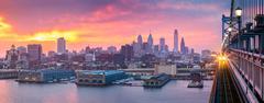 Philadelphia panorama under a hazy purple sunset - stock photo