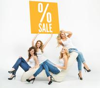 Picture of attractive women promoting sale - stock photo
